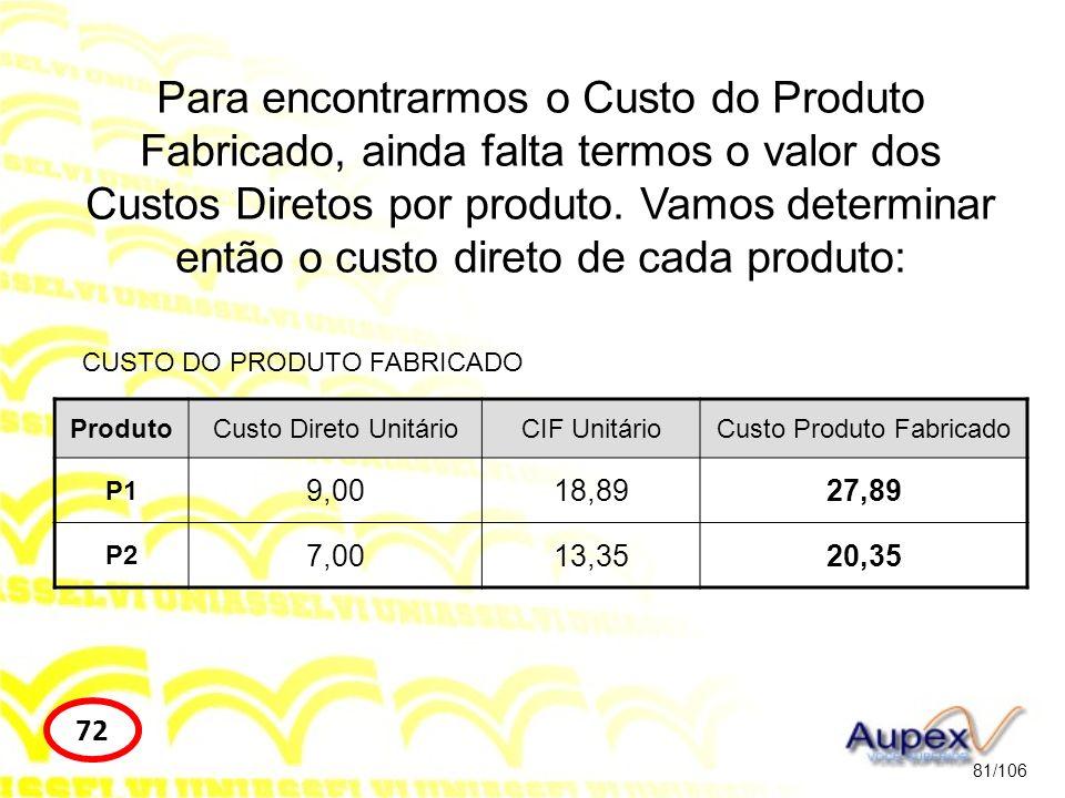 81/106 72 Para encontrarmos o Custo do Produto Fabricado, ainda falta termos o valor dos Custos Diretos por produto. Vamos determinar então o custo di
