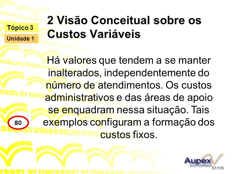 2 Visão Conceitual sobre os Custos Variáveis Há valores que tendem a se manter inalterados, independentemente do número de atendimentos. Os custos adm