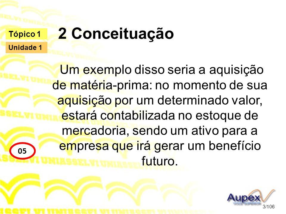 2 Conceituação Um exemplo disso seria a aquisição de matéria-prima: no momento de sua aquisição por um determinado valor, estará contabilizada no esto