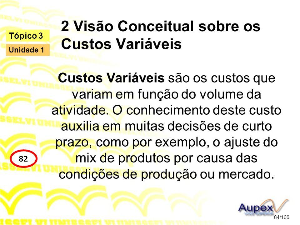 2 Visão Conceitual sobre os Custos Variáveis Custos Variáveis são os custos que variam em função do volume da atividade. O conhecimento deste custo au