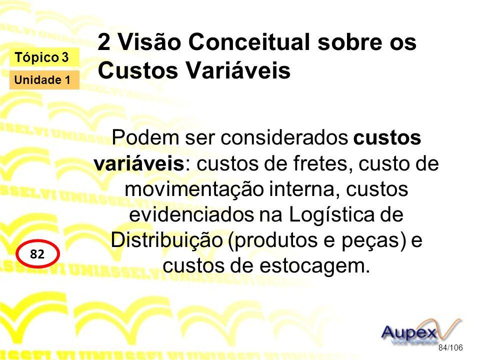 2 Visão Conceitual sobre os Custos Variáveis Podem ser considerados custos variáveis: custos de fretes, custo de movimentação interna, custos evidenci