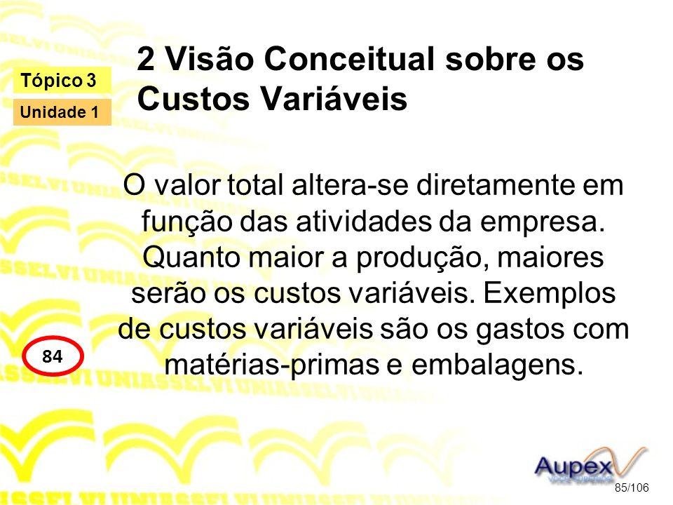 2 Visão Conceitual sobre os Custos Variáveis O valor total altera-se diretamente em função das atividades da empresa. Quanto maior a produção, maiores