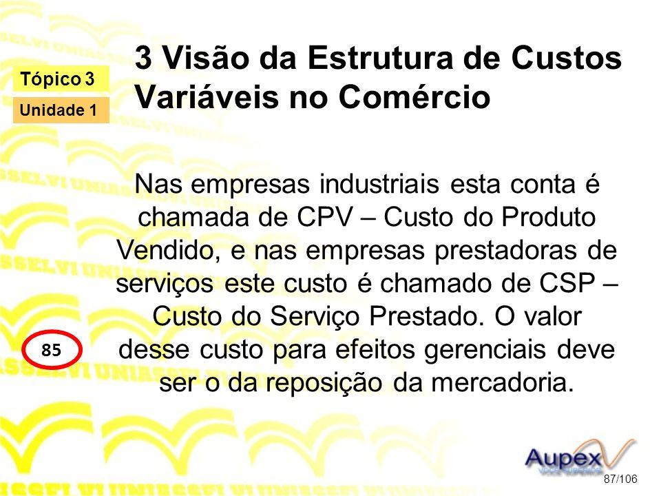 3 Visão da Estrutura de Custos Variáveis no Comércio Nas empresas industriais esta conta é chamada de CPV – Custo do Produto Vendido, e nas empresas p
