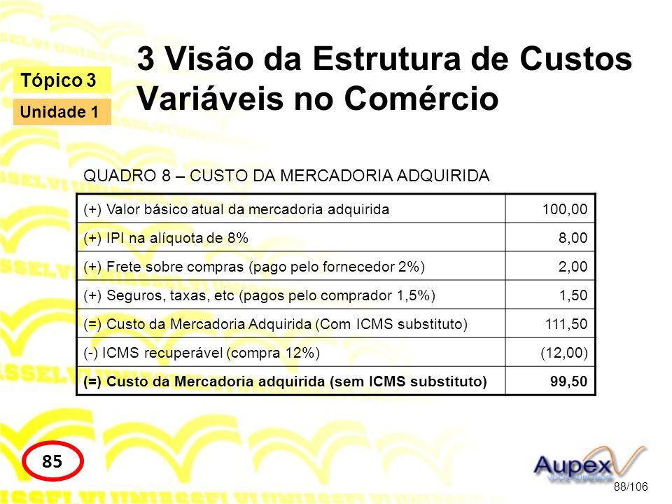 3 Visão da Estrutura de Custos Variáveis no Comércio 88/106 Tópico 3 85 Unidade 1 (+) Valor básico atual da mercadoria adquirida100,00 (+) IPI na alíq