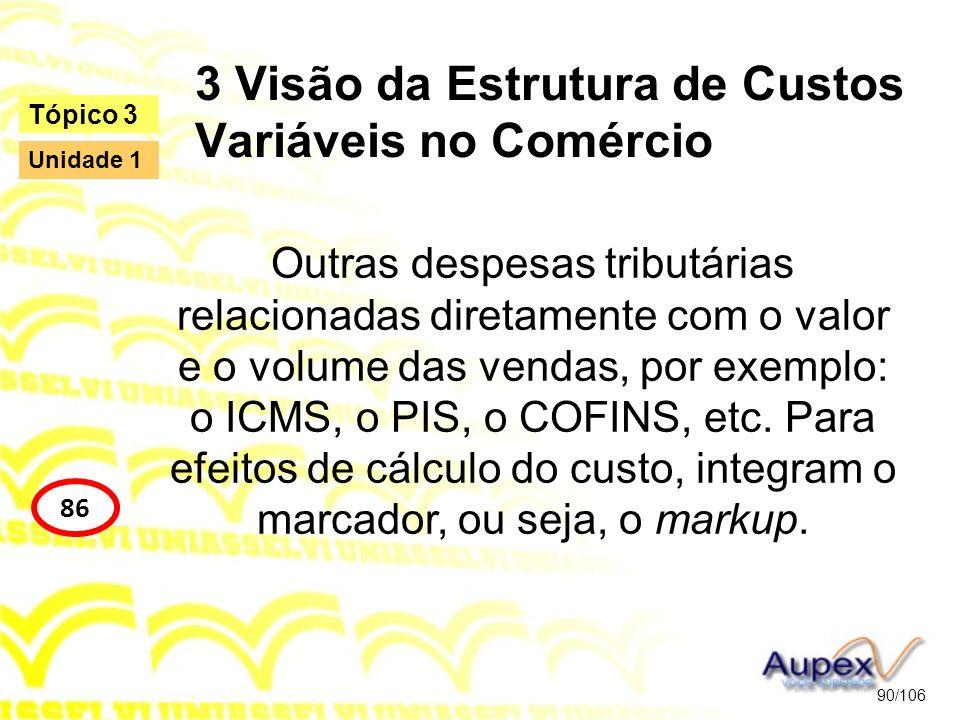 3 Visão da Estrutura de Custos Variáveis no Comércio Outras despesas tributárias relacionadas diretamente com o valor e o volume das vendas, por exemp