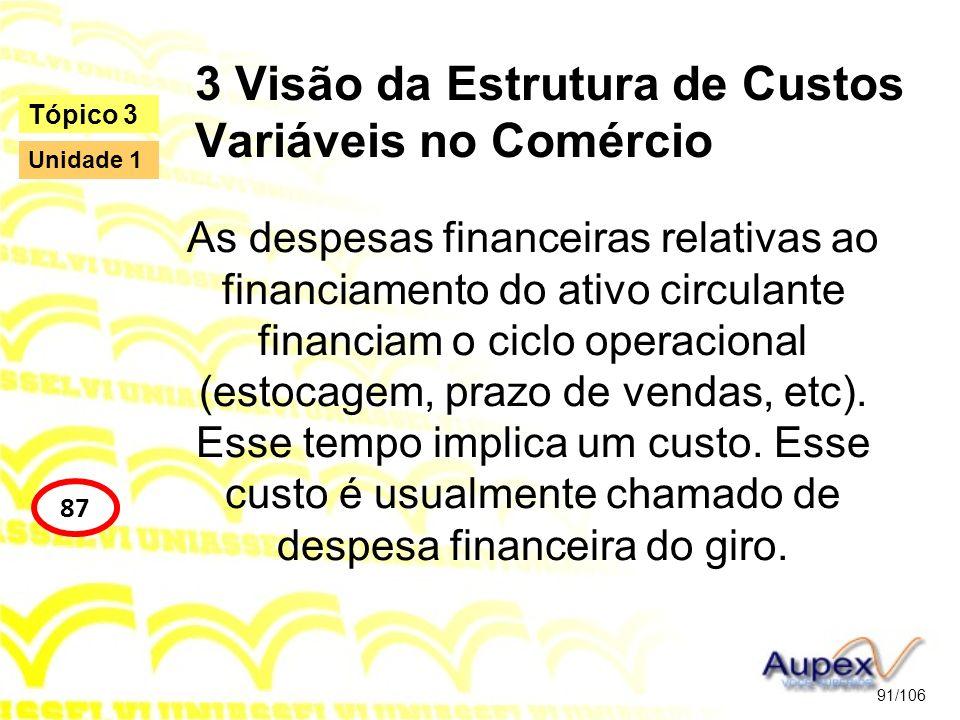 3 Visão da Estrutura de Custos Variáveis no Comércio As despesas financeiras relativas ao financiamento do ativo circulante financiam o ciclo operacio
