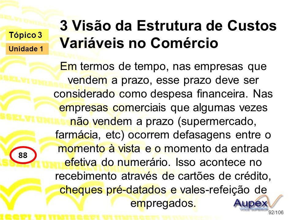 3 Visão da Estrutura de Custos Variáveis no Comércio Em termos de tempo, nas empresas que vendem a prazo, esse prazo deve ser considerado como despesa