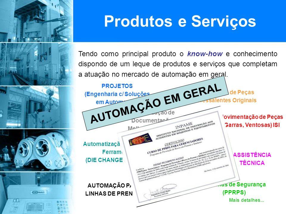 Produtos e Serviços Tendo como principal produto o know-how e conhecimento dispondo de um leque de produtos e serviços que completam a atuação no mercado de automação em geral.