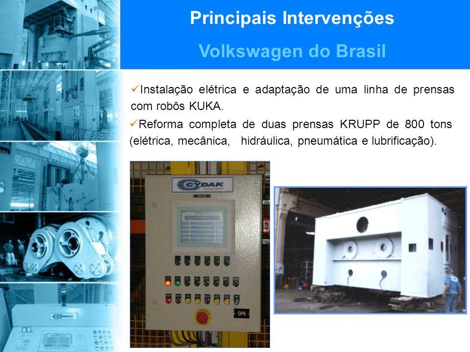 Principais Intervenções Volkswagen do Brasil Instalação elétrica e adaptação de uma linha de prensas com robôs KUKA.