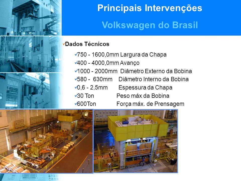 Principais Intervenções Volkswagen do Brasil Dados Técnicos 750 - 1600,0mm Largura da Chapa 400 - 4000,0mm Avanço 1000 - 2000mm Diâmetro Externo da Bobina 580 - 630mm Diâmetro Interno da Bobina 0,6 - 2,5mm Espessura da Chapa 30 Ton Peso máx da Bobina 600Ton Força máx.