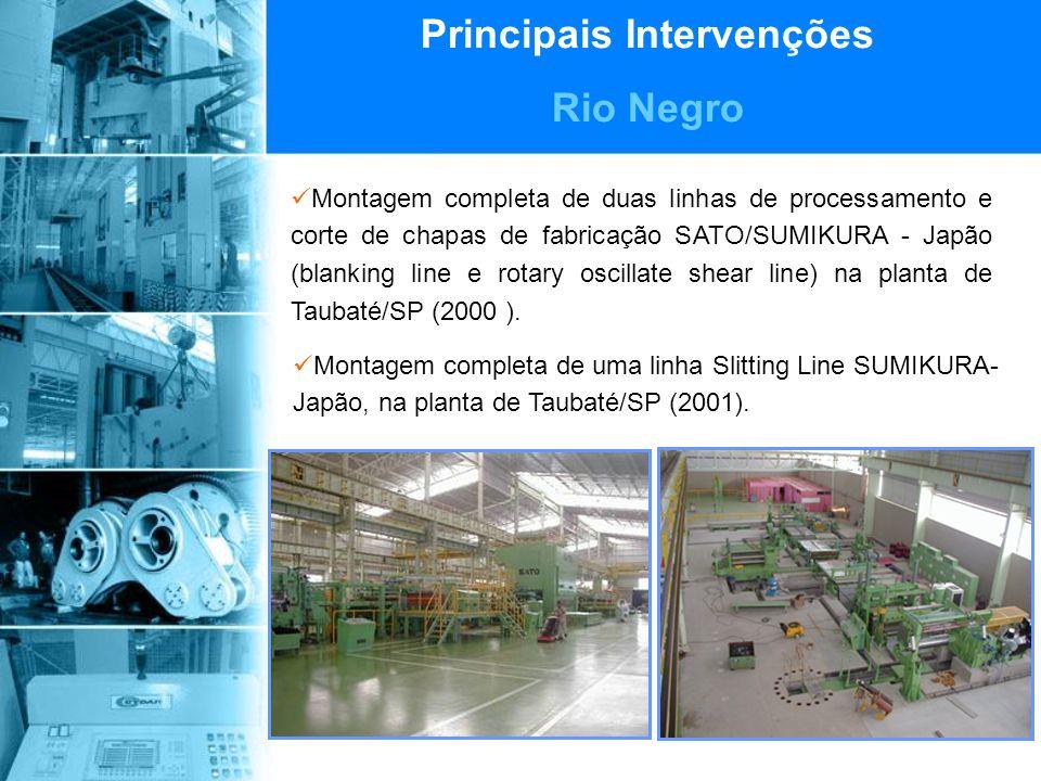Principais Intervenções Rio Negro Montagem completa de duas linhas de processamento e corte de chapas de fabricação SATO/SUMIKURA - Japão (blanking line e rotary oscillate shear line) na planta de Taubaté/SP (2000 ).