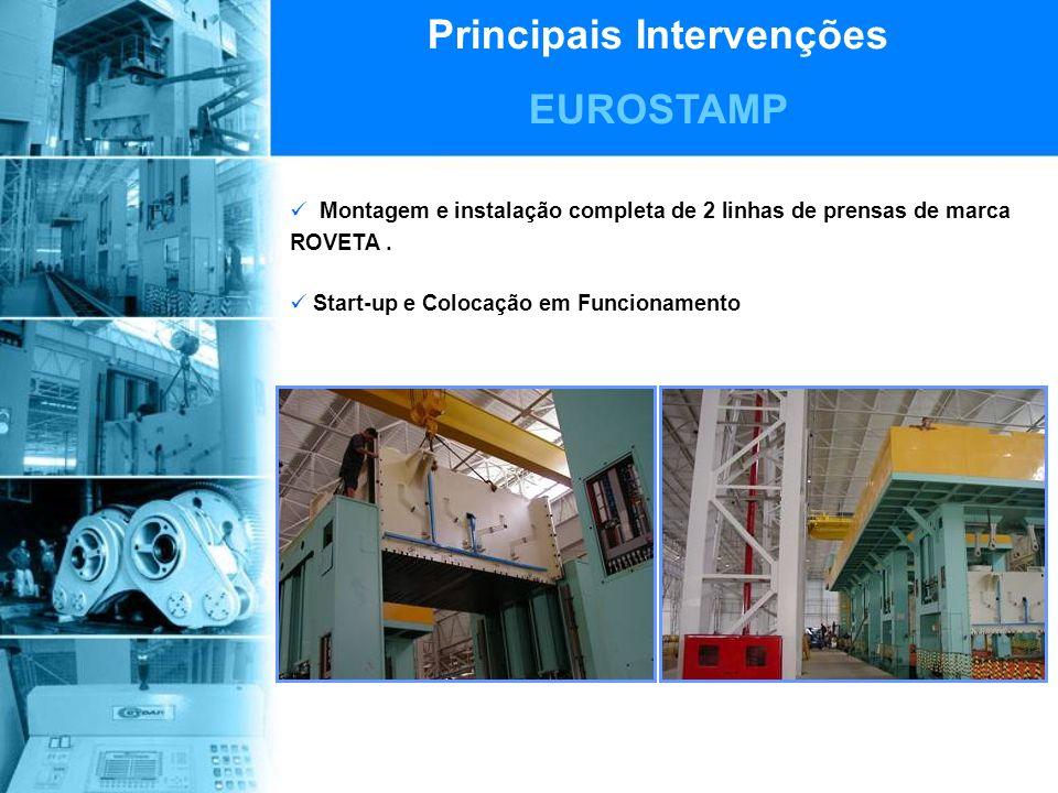 Principais Intervenções EUROSTAMP Montagem e instalação completa de 2 linhas de prensas de marca ROVETA.