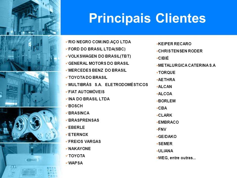 Principais Clientes RIO NEGRO COM.IND.AÇO LTDA FORD DO BRASIL LTDA(SBC) VOLKSWAGEN DO BRASIL(TBT) GENERAL MOTORS DO BRASIL MERCEDES BENZ DO BRASIL TOYOTA DO BRASIL MULTIBRÁS S.A.