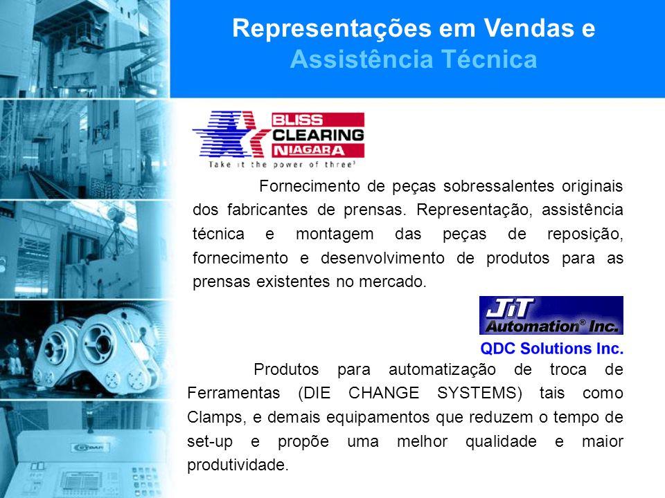 Representações em Vendas e Assistência Técnica Fornecimento de peças sobressalentes originais dos fabricantes de prensas.