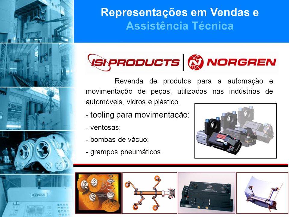 Revenda de produtos para a automação e movimentação de peças, utilizadas nas indústrias de automóveis, vidros e plástico.