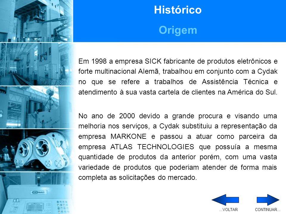 Histórico Origem Ao longo do ano de 2001 a Cydak Comércio e Assistência Técnica Industrial Ltda, atravessou uma fase de reestruturação tanto física quanto organizacional e administrativa.