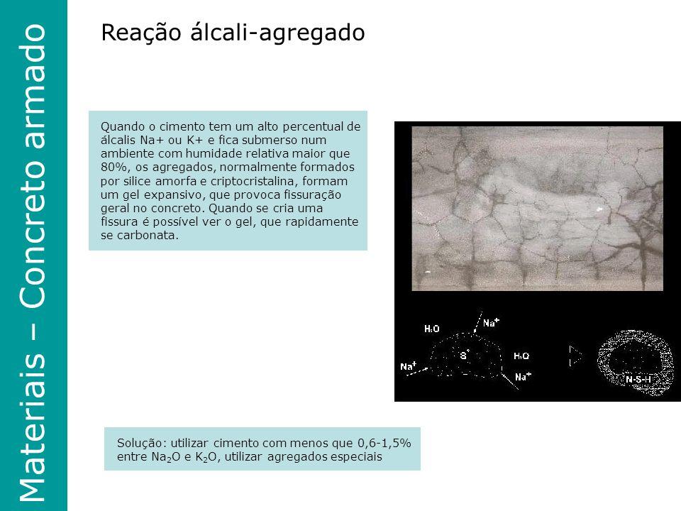 Materiais – Concreto armado Reação álcali-agregado Quando o cimento tem um alto percentual de álcalis Na+ ou K+ e fica submerso num ambiente com humidade relativa maior que 80%, os agregados, normalmente formados por silice amorfa e criptocristalina, formam um gel expansivo, que provoca fissuração geral no concreto.