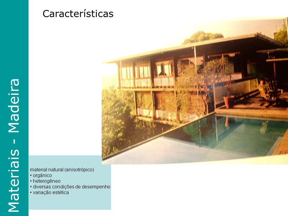 material natural (anisotrópico) orgânico heterogêneo diversas condições de desempenho variação estética Materiais - Madeira Características