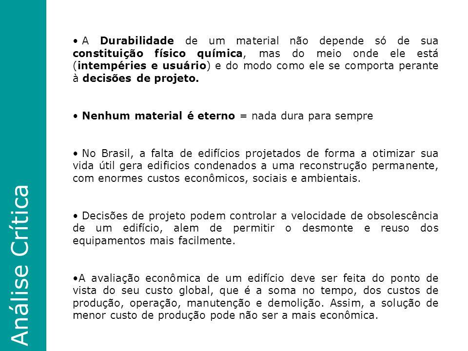 Análise Crítica A Durabilidade de um material não depende só de sua constituição físico química, mas do meio onde ele está (intempéries e usuário) e do modo como ele se comporta perante à decisões de projeto.