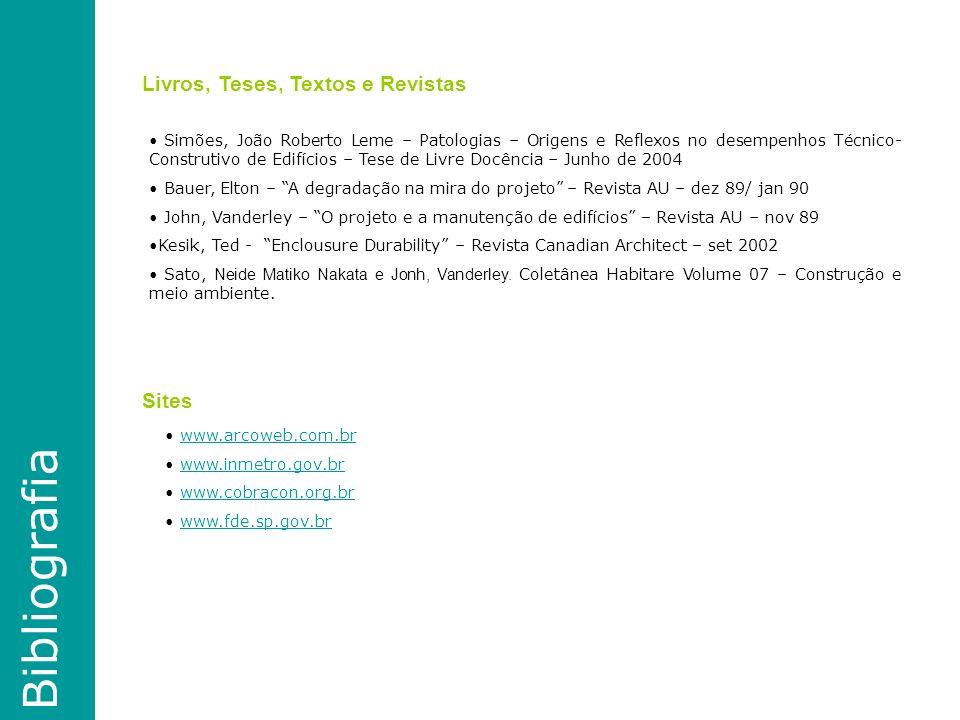 Bibliografia Simões, João Roberto Leme – Patologias – Origens e Reflexos no desempenhos Técnico- Construtivo de Edifícios – Tese de Livre Docência – Junho de 2004 Bauer, Elton – A degradação na mira do projeto – Revista AU – dez 89/ jan 90 John, Vanderley – O projeto e a manutenção de edifícios – Revista AU – nov 89 Kesik, Ted - Enclousure Durability – Revista Canadian Architect – set 2002 Sato, Neide Matiko Nakata e Jonh, Vanderley.