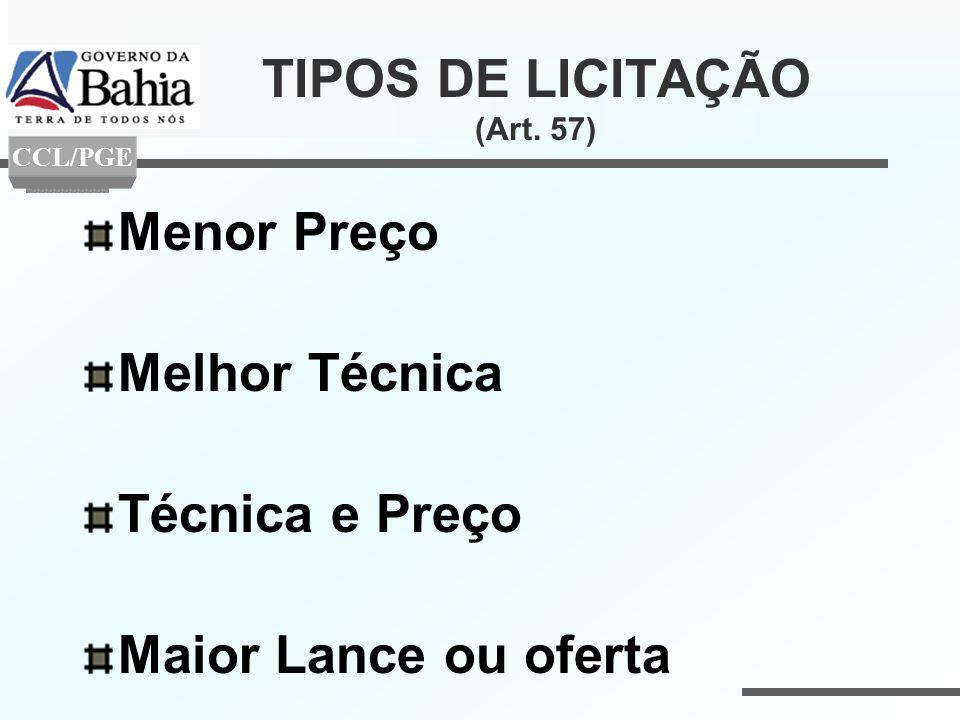 TIPOS DE LICITAÇÃO (Art. 57) Menor Preço Melhor Técnica Técnica e Preço Maior Lance ou oferta CCL/PGE