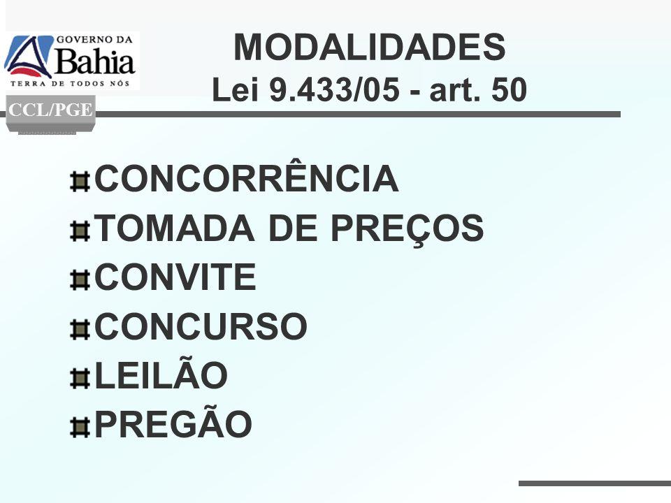 MODALIDADES Lei 9.433/05 - art. 50 CONCORRÊNCIA TOMADA DE PREÇOS CONVITE CONCURSO LEILÃO PREGÃO CCL/PGE