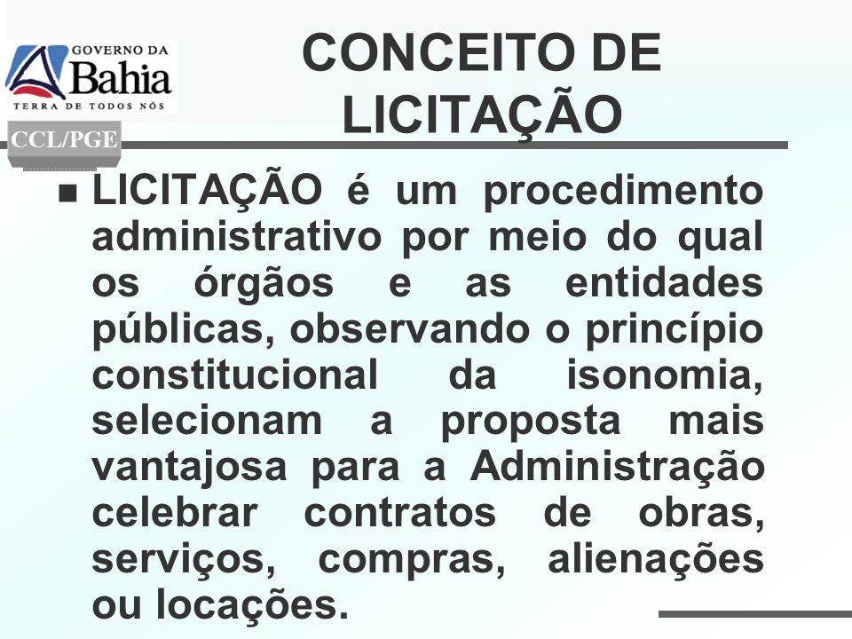CONCEITO DE LICITAÇÃO LICITAÇÃO é um procedimento administrativo por meio do qual os órgãos e as entidades públicas, observando o princípio constituci
