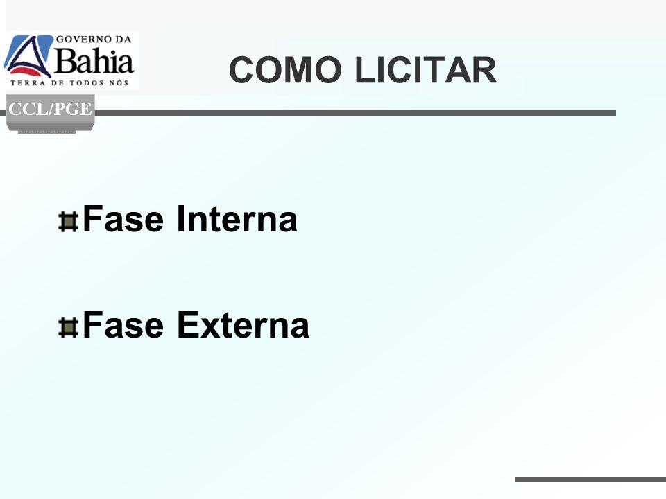 COMO LICITAR Fase Interna Fase Externa CCL/PGE