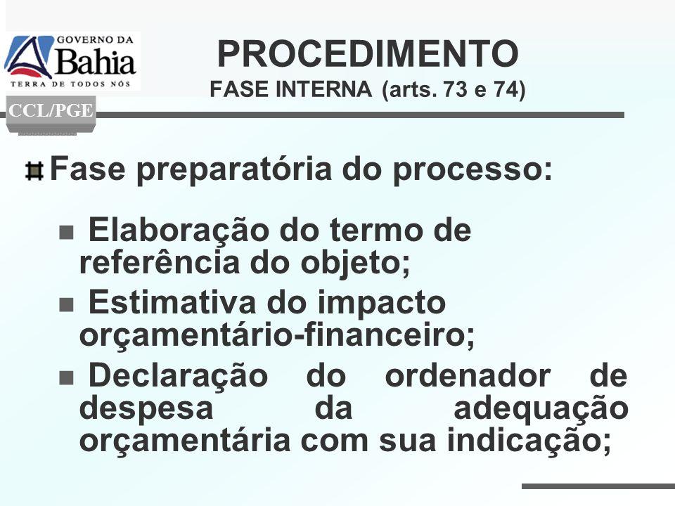 PROCEDIMENTO FASE INTERNA (arts. 73 e 74) Fase preparatória do processo: Elaboração do termo de referência do objeto; Estimativa do impacto orçamentár