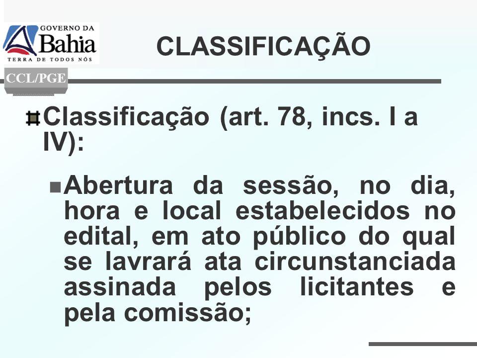 CLASSIFICAÇÃO Classificação (art. 78, incs. I a IV): Abertura da sessão, no dia, hora e local estabelecidos no edital, em ato público do qual se lavra