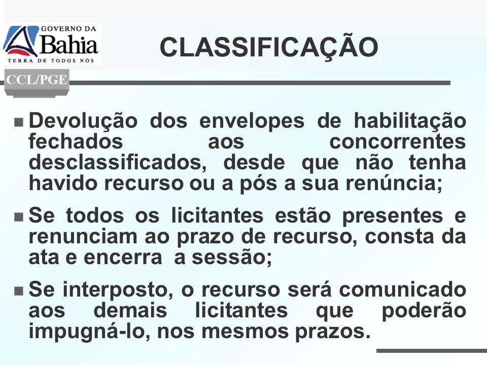 CLASSIFICAÇÃO Devolução dos envelopes de habilitação fechados aos concorrentes desclassificados, desde que não tenha havido recurso ou a pós a sua ren