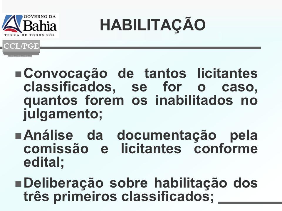 HABILITAÇÃO Convocação de tantos licitantes classificados, se for o caso, quantos forem os inabilitados no julgamento; Análise da documentação pela co