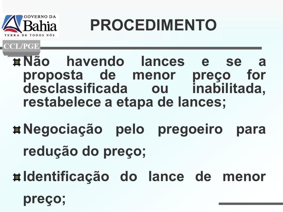 PROCEDIMENTO Não havendo lances e se a proposta de menor preço for desclassificada ou inabilitada, restabelece a etapa de lances; Negociação pelo preg