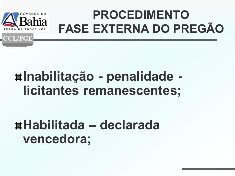 PROCEDIMENTO FASE EXTERNA DO PREGÃO Inabilitação - penalidade - licitantes remanescentes; Habilitada – declarada vencedora; CCL/PGE