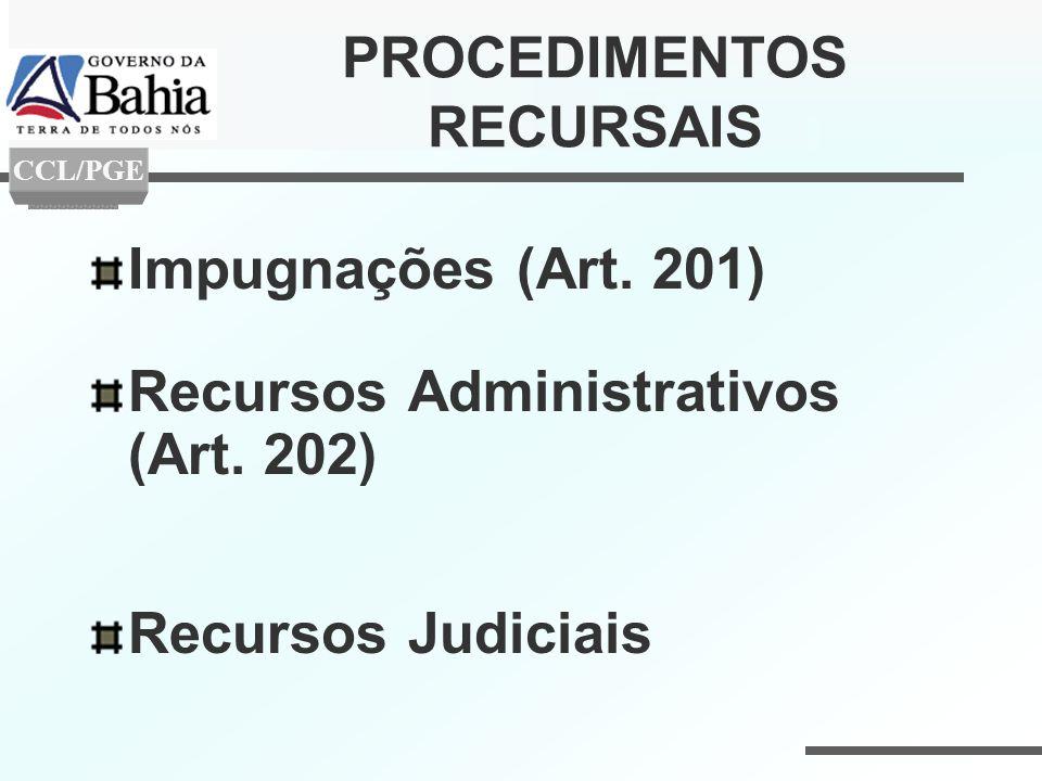 PROCEDIMENTOS RECURSAIS Impugnações (Art. 201) Recursos Administrativos (Art. 202) Recursos Judiciais CCL/PGE
