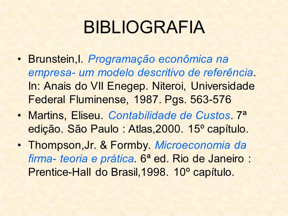 BIBLIOGRAFIA Brunstein,I. Programação econômica na empresa- um modelo descritivo de referência. In: Anais do VII Enegep. Niteroi, Universidade Federal