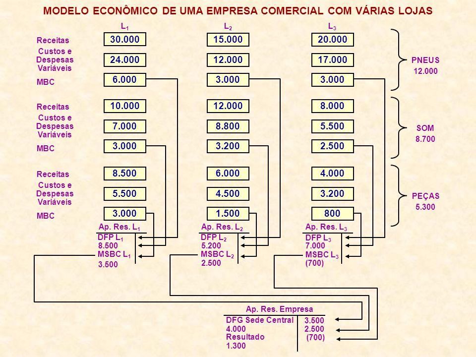 MODELO ECONÔMICO DE UMA EMPRESA COMERCIAL COM VÁRIAS LOJAS Receitas Custos e Despesas Variáveis MBC L1L1 L2L2 L3L3 Ap. Res. L 1 Ap. Res. L 2 Ap. Res.