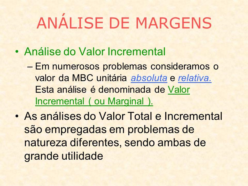 Análise do Valor Incremental –Em numerosos problemas consideramos o valor da MBC unitária absoluta e relativa. Esta análise é denominada de Valor Incr