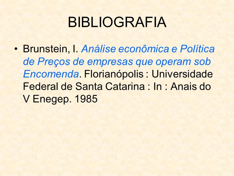 BIBLIOGRAFIA Brunstein, I. Análise econômica e Política de Preços de empresas que operam sob Encomenda. Florianópolis : Universidade Federal de Santa