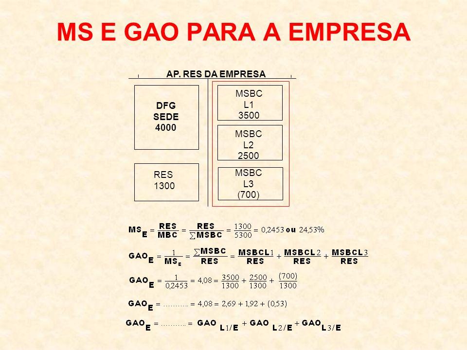 MS E GAO PARA A EMPRESA AP. RES DA EMPRESA DFG SEDE 4000 MSBC L1 3500 RES 1300 MSBC L2 2500 MSBC L3 (700)