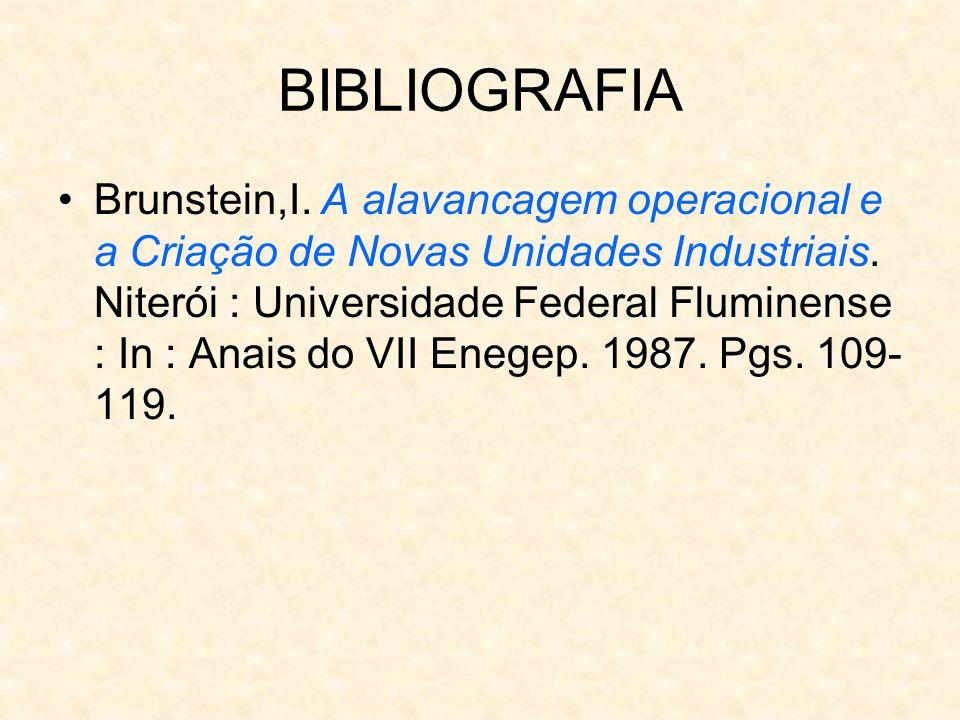 BIBLIOGRAFIA Brunstein,I. A alavancagem operacional e a Criação de Novas Unidades Industriais. Niterói : Universidade Federal Fluminense : In : Anais