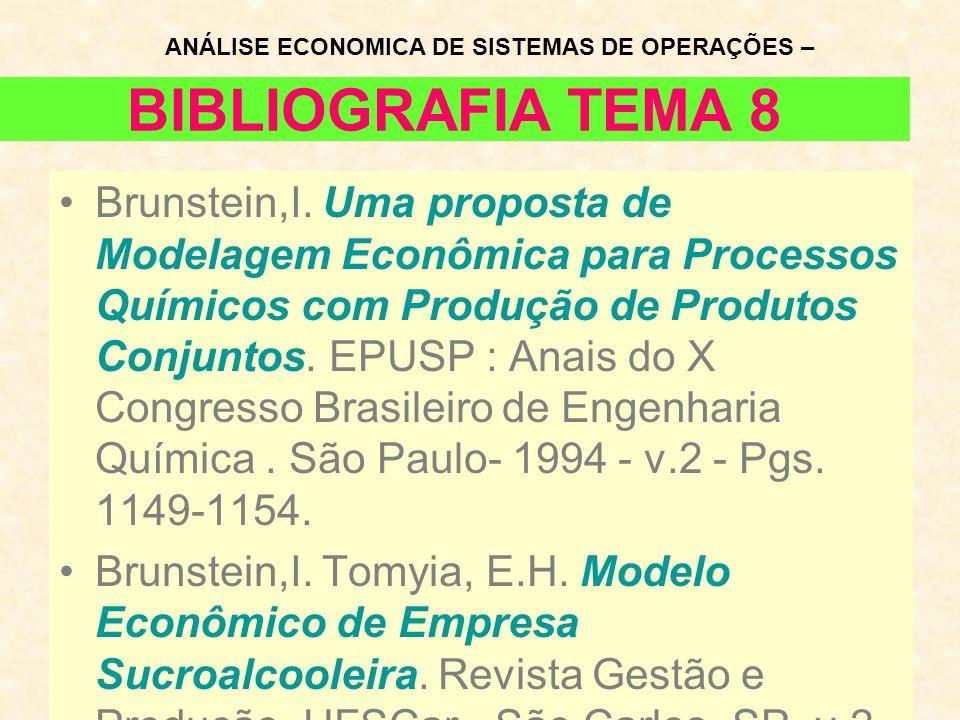 BIBLIOGRAFIA TEMA 8 Brunstein,I. Uma proposta de Modelagem Econômica para Processos Químicos com Produção de Produtos Conjuntos. EPUSP : Anais do X Co