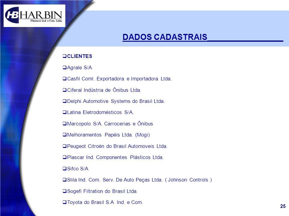 25 DADOS CADASTRAIS_________________ CLIENTES Agrale S/A Casfil Coml. Exportadora e Importadora Ltda. Ciferal Indústria de Ônibus Ltda. Delphi Automot