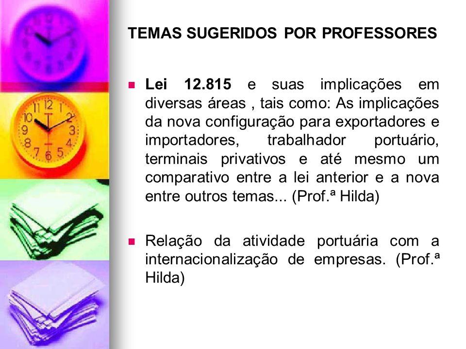 TEMAS SUGERIDOS POR PROFESSORES Lei 12.815 e suas implicações em diversas áreas, tais como: As implicações da nova configuração para exportadores e im