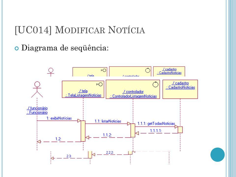 [UC014] M ODIFICAR N OTÍCIA Diagrama de seqüência: