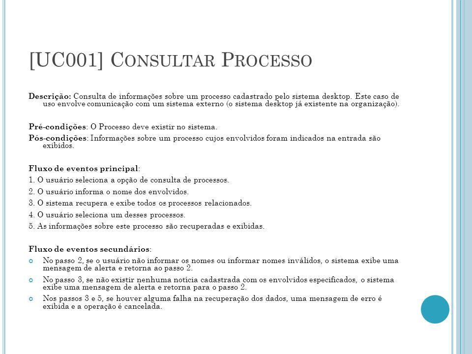 [UC001] C ONSULTAR P ROCESSO Descrição: Consulta de informações sobre um processo cadastrado pelo sistema desktop. Este caso de uso envolve comunicaçã