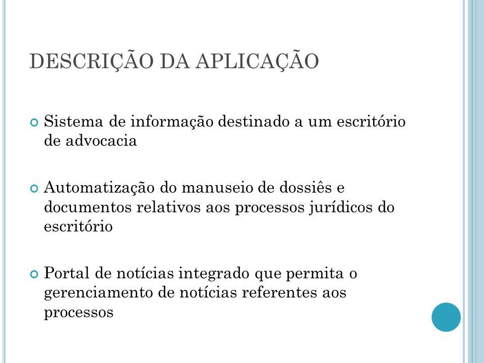 DESCRIÇÃO DA APLICAÇÃO Sistema de informação destinado a um escritório de advocacia Automatização do manuseio de dossiês e documentos relativos aos pr
