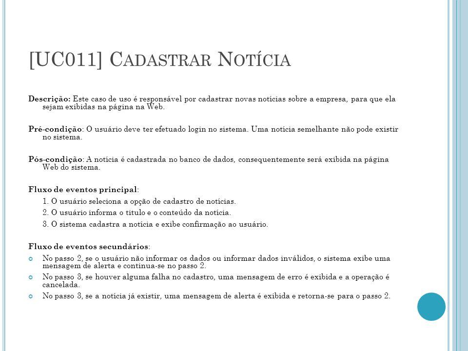 [UC016] C ONSULTAR N OTÍCIAS E XTERNAS Diagrama de classe: