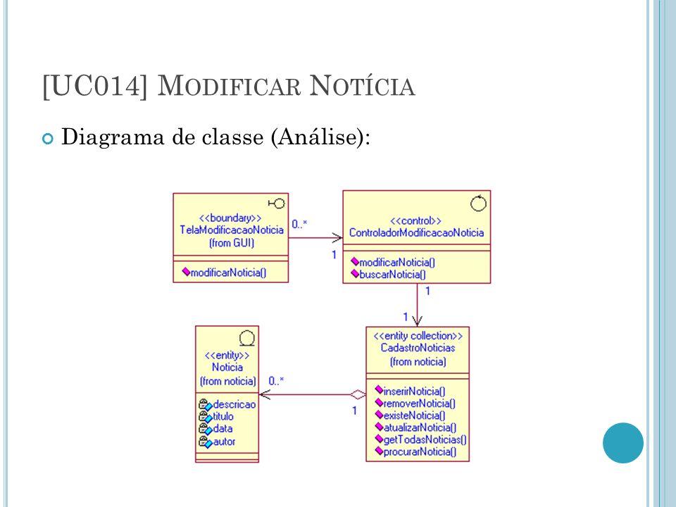 [UC014] M ODIFICAR N OTÍCIA Diagrama de classe (Análise):