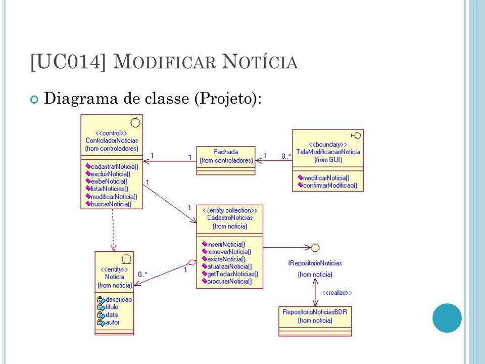 [UC014] M ODIFICAR N OTÍCIA Diagrama de classe (Projeto):